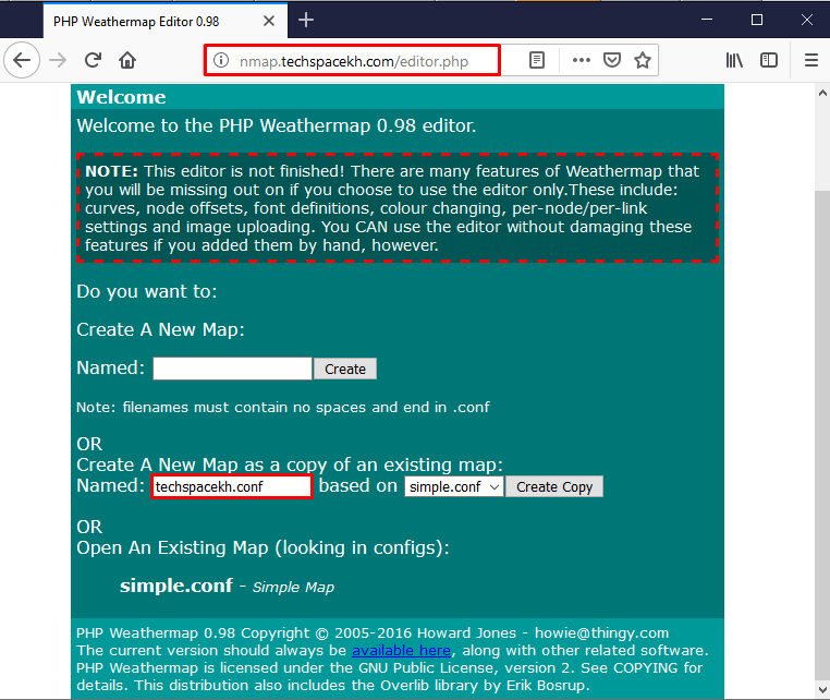 Installing Standalone PHP Weathermap